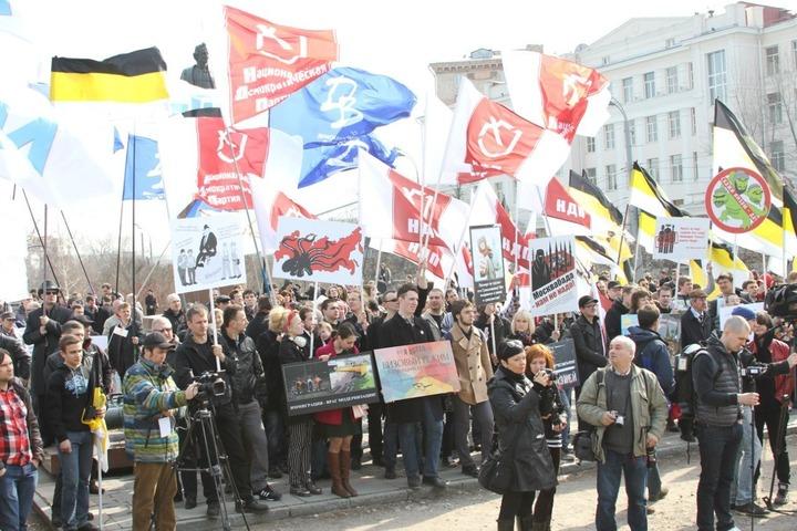Русские националисты провели массовые митинги за введение визового режима со странами Средней Азии