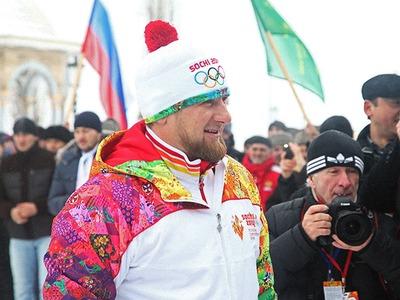 Кадыров зажег чашу Олимпийского огня в Грозном