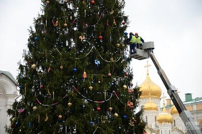 Главную ель России украсили хохломскими ложками и золотыми петушками