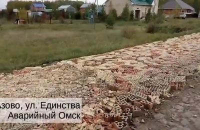В немецком селе в Омской области выложили дорогу из битых кирпичей