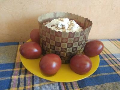 Кулич на опаре и яйца в шелухе