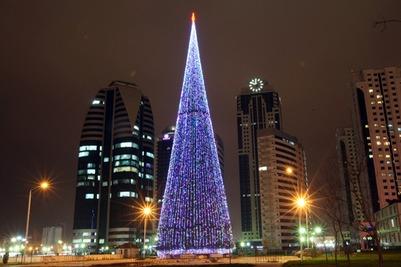 В Грозном установили самую высокую елку страны